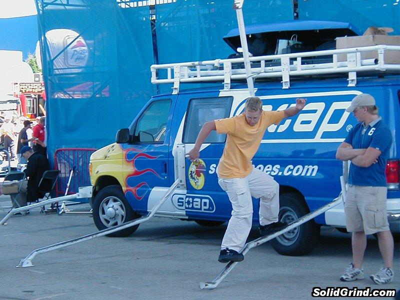 Dude sliding the Soap Van