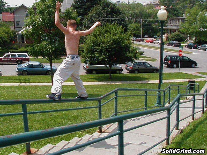 Zack Ricky hittin a Frontside on a long, fat, kinked rail.