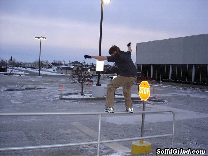 sam grinding a high rail
