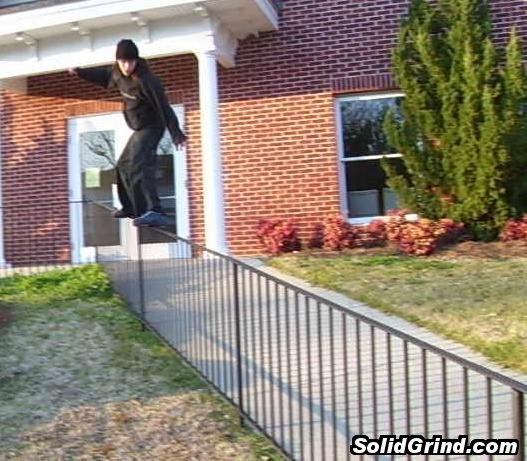 D.V. Grinding a huge rail at his church.