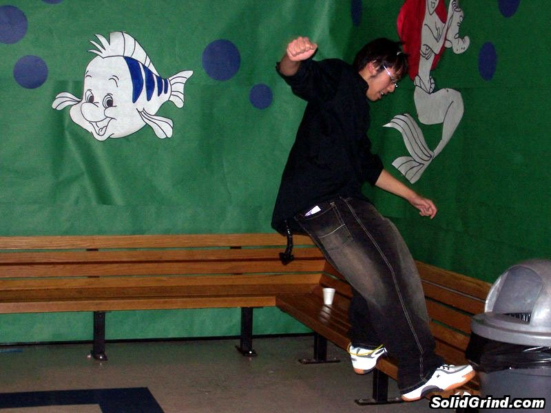 Justin Vongpanya frontside on a bench during Tolo. Disney themed!