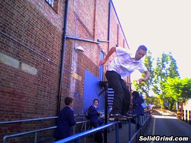 Stuart Pickston doing a frontside at the blue tesco rail