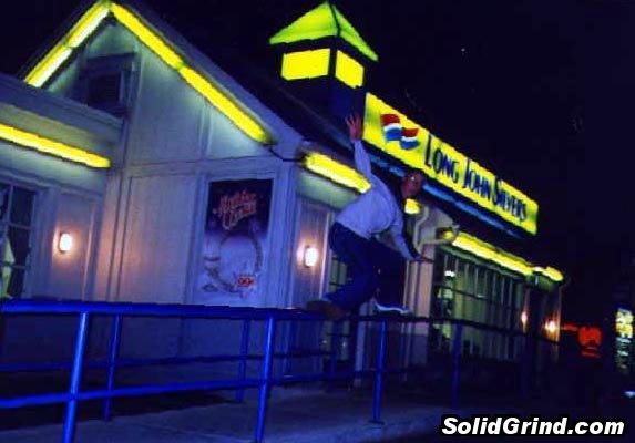 Bart Johnson sliding a handrail at Long John Silvers